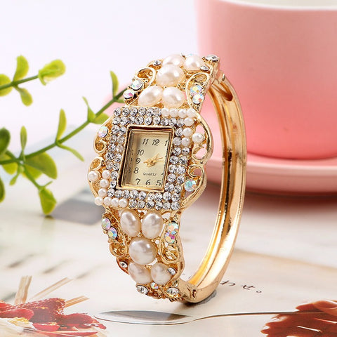 Pearl Bracelet Diamond Quartz Watch
