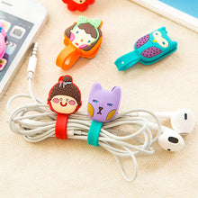 Load image into Gallery viewer, 2Pcs Cable Earphome Cord Wrap Cartoon Organizer