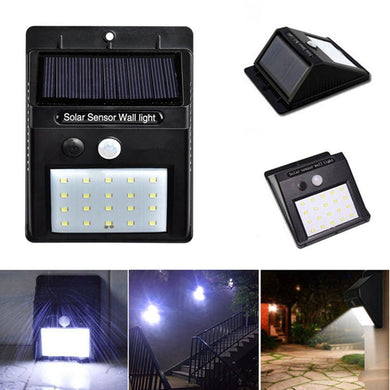 Solar Power 20 LED PIR Motion Sensor Waterproof Wall Light