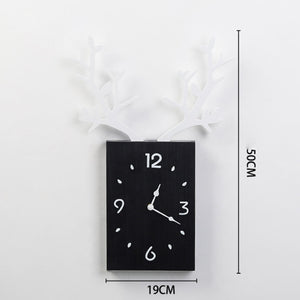 50 x 35cm Simple Wooden Antler Wallclock