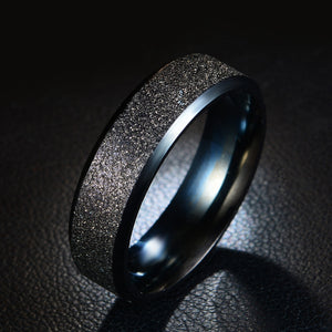 Frosted Rainbow Color Black Couple Ring