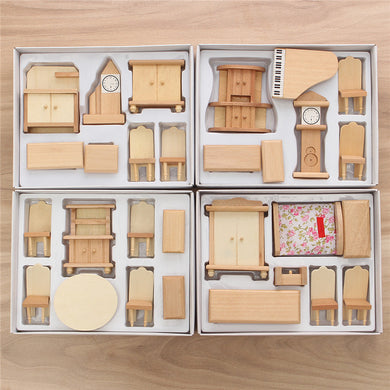 Unpainted Wooden Furniture Scale Dollhouse