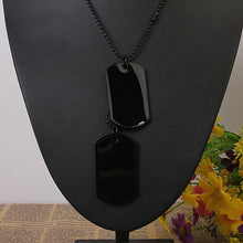 Load image into Gallery viewer, Mens Army Style Black Dog Tag Pendant Necklace