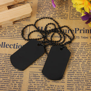 Mens Army Style Black Dog Tag Pendant Necklace