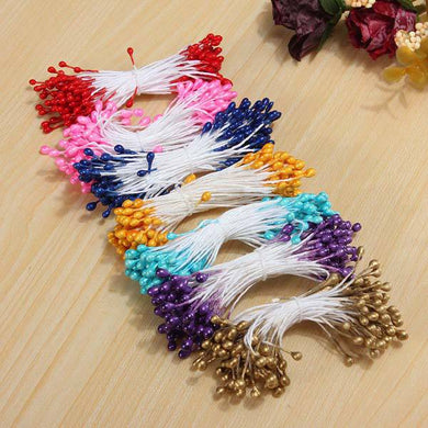 Stamen Pearl Flower Double Heads Core Craft Decoration