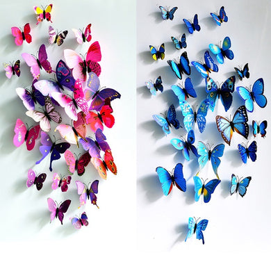 12 pcs. 3D Butterfly Wall Sticker Magnet