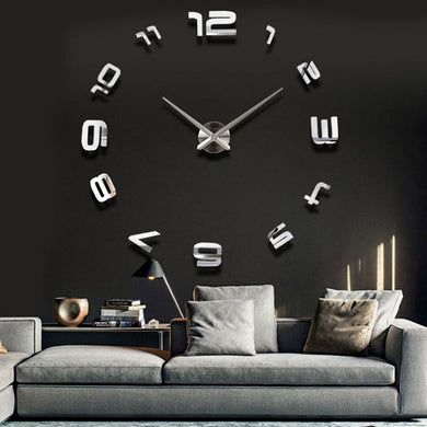 3D Large Sliver Modern DIY Wall Clock Sticker