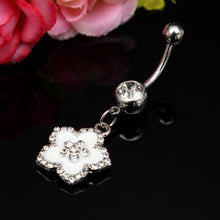 Load image into Gallery viewer, Silver Rhinestone Flower Petal Navel Bar Belly Ring