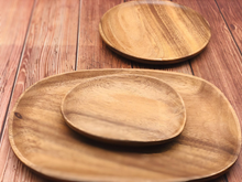 Load image into Gallery viewer, Wood Irregular Oval Solid Wood Pan Plate