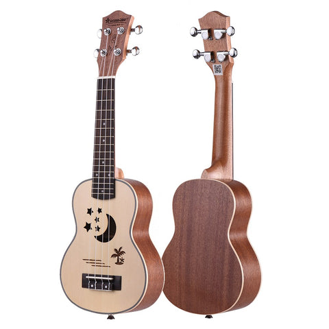 "21"" Spruce Palm Tree Pattern Soprano Ukulele ZA15 - Zalaxy"