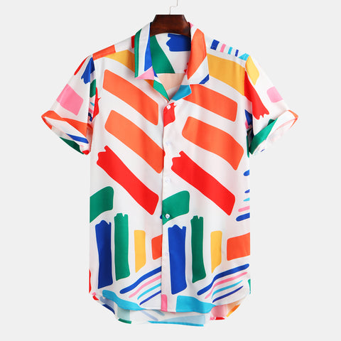 Men's Fashion Geometric Printed Casual Shirt