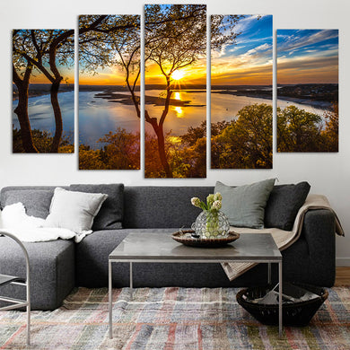 5 Panel Sunset Lake Tree Seascape Canvas Painting