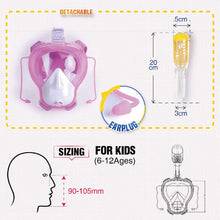 Load image into Gallery viewer, Kids Anti Fog Full Face Snorkeling Set with Earplug & Go Pro Holder - Zalaxy