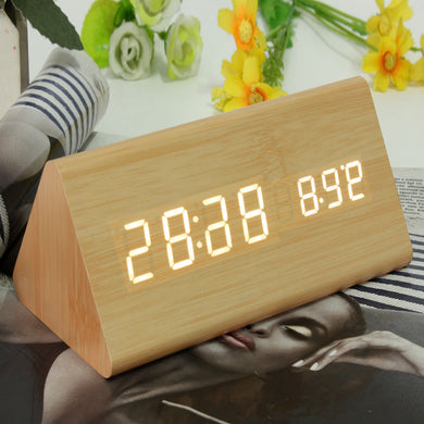Triangular Wood Digital LED Alarm