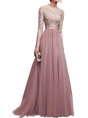 Lace Patchwork Evening Maxi Dress