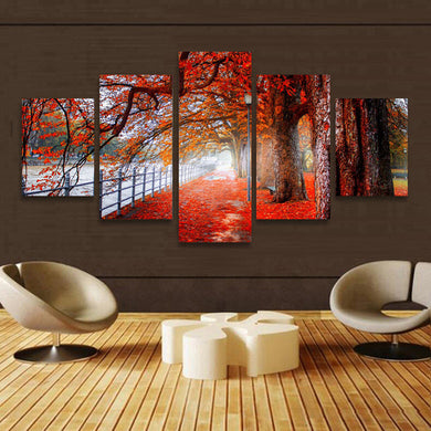 5 Cascade Autumn Red Tree Abstract Canvas Wall Painting
