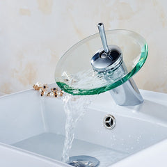 Solid Glass Waterfall Round Faucet