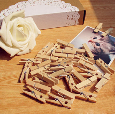 100pcs. 35mm Natural Wooden Photo Paper Clips