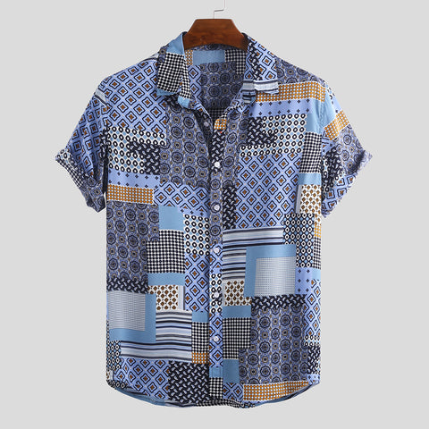 Mens Ethnic Pattern Summer Shirts