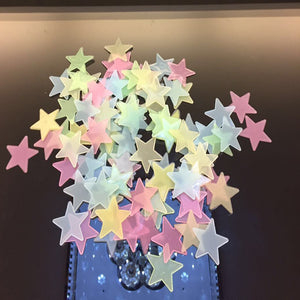 100pcs 3D Stars Glow In Dark Luminous Tape