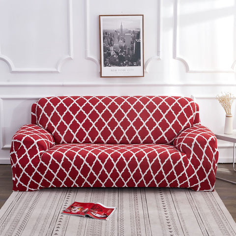 1/2/3/4 Seater Red Elastic Sofa Chair Cover