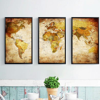 World Map Three Combination Decorative Paintings