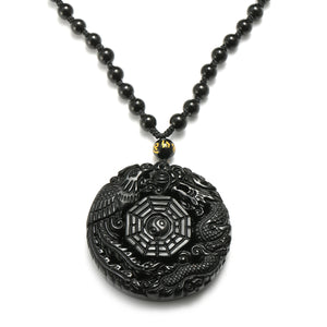 Black Obsidian Lucky Pendant Necklace