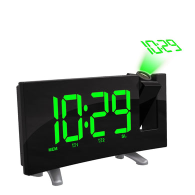 LED Digital Projection Clock FM Radio Dual Alarm Clock