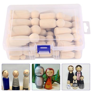 50Pcs Set Wooden Doll Wood Art Craft