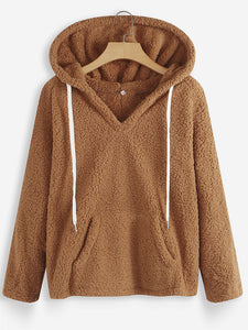 Women V-neck Hooded Fleece Coat