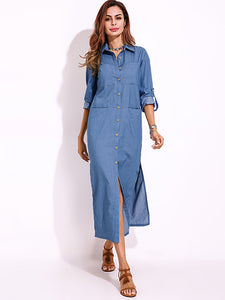 Long Sleeve Denim Shirt Dress