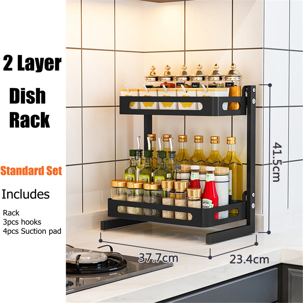 3 Tier Stainless Steel Storage Rack Countertop Spice Jar