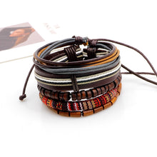 Load image into Gallery viewer, Retro Multilayer Wood Bead Leather Bracelet