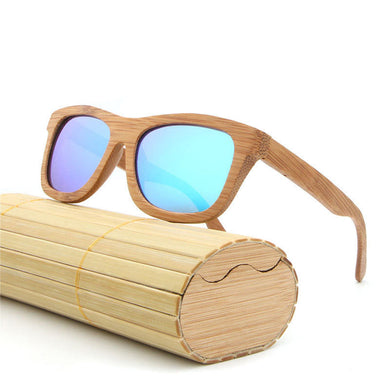 UV400 Handmade Retro Bamboo Wood Polarized Sunglasses Mirrored Wooden Glasses