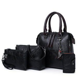 4 PCS Women Faux Leather Elegant Handbag