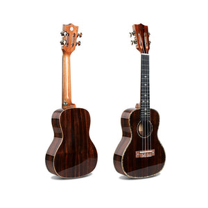 "21"" Slotted Headstock AA Ebony Wood Soprano Ukulele LA10 - Zalaxy"