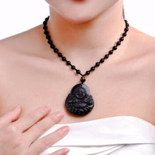 Load image into Gallery viewer, Black Obsidian Buddha Pendant Necklace
