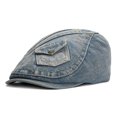 Men's Vintage Pocket Design Denim Beret