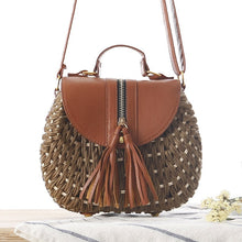 Load image into Gallery viewer, Straw Beach Tassel Patchwork Crossbody Bag