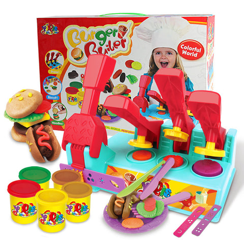 Kids Burger Builder Colour Clay Dough Set