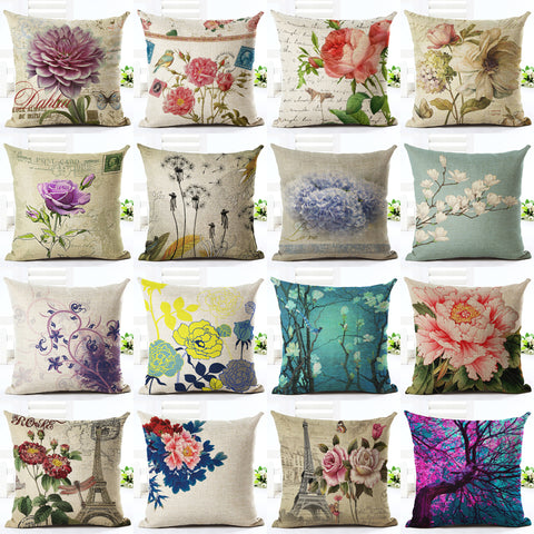 Vintage Flowers and Waist Square Floral Linen Cushion Cover