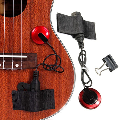 Piezo Contact Microphone Pickup with Clamp Strap For Guitar Violin Ukulele Banjo