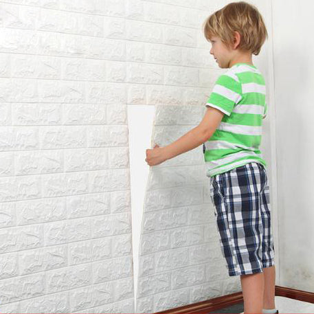 4Pcs 3D Elasticity Brick Grain Wall Stickers