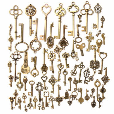 70Pcs Vintage Bronze Skeleton Heart Key Pendants