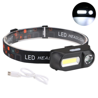 700LM XPE+COB LED HeadLamp USB Interface Light