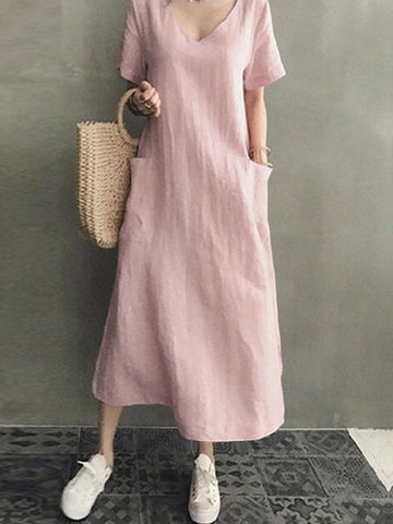 Women Cotton V-neck Side Pocket Solid Midi Dress