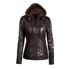 Hooded Women Leather Jacket