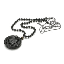 Load image into Gallery viewer, Black Obsidian Lucky Pendant Necklace