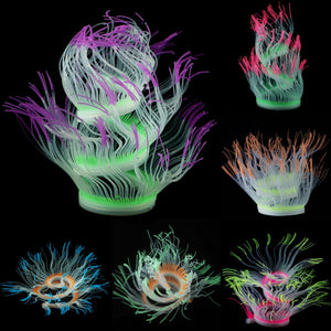 Aquarium Fish Tank Decor Silicone Sea Anemone Plant Artificial