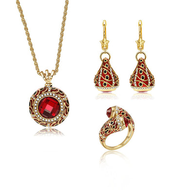 Red Crystal Statement Jewelry Set